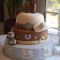 Baby Shower A Western themed Baby shower cAkers with Fondant & gumpaste accessories!