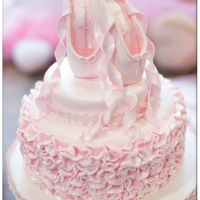 Ballet Pointe Cake Buttercream with fondant topper and ruffles