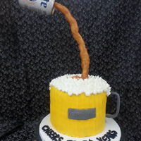 Beer Anti-Gravity Cake Birthday cake for a beer lover. After a few attempts was able to combine a couple of different isomalt sticks to get the bronzy color for...