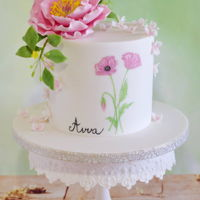 Birthday Cake With Sugar Flowers. Birthday cake with sugar peony.