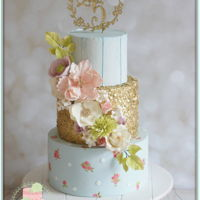 Blue Gold Sequins Gorgeous blingy cake for a little princess
