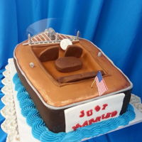 Boating Grooms Cake A friend sent me a picture of a boat and asked if I could make a groom's cake to look like it. First time sculpting a boat. Definitely...
