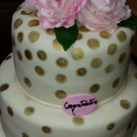 Bridal Shower - Peonies   8, 12 inch round cakes. Cream with gold dots.