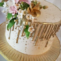 Gold Buttercream Drip Cake Small 8in birthday cake with sugar flowers