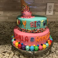 Candy Themed Cake Two tier fondant covered cake with sprinkles and gum balls.