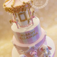Carousel Cake Pink and white carousel cake for Albany Elladora's Christening