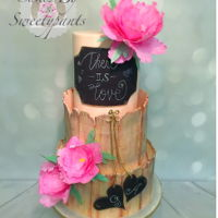 Chalkboard Wedding Cake Rustic, chalkboard wedding cake. Featuring colorful, wafer paper peony