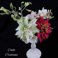 Christmas Flowers Arrangement A Christmas arrangement of cold porcelain flowers (also made in sugar for cakes) of poinsettia, Christmas roses, mistletoe and berries.