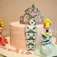 Disney Princesses Cinderella, Aurora and Ariel princess cake. All are handmade.