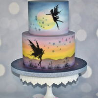 Fairy Fantasy Silhouette Cake. Fairy Fantasy Silhouette cake, painted with airbrush .