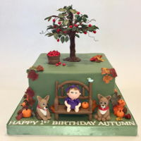 Fall 1St Birthday Cake Fall 1st Birthday Cake with Apple Tree, Bench, Little Girls and her dogs.