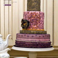 Fancy Wedding Cake Hand made lace and gold inlay