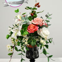 Free Formed Vintage Flowers Arrangement  silver awarded piece in Birmingham november 2016roses, cherry blossom, stephanotis, bauhinia, berries and eucalypthus- all free formed made...