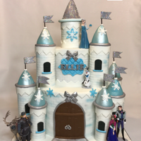 """frozen"" Castle Cake 8 and 5 inch round cakes, I used empty paper towel rolls to wrap the gum paste around to make the turrets, once dried they slipped right..."