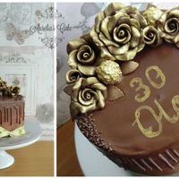Gold Chocolate Roses Cake   Gold chocolate roses cake