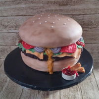 "Hamburger Cake For Chris A hamburger cake has been one those on my ""to do"" list. It's my son, Chris's birthday, and I wanted to make something,..."