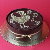 Happy New Year! Year Of Rooster! Triple mousse cake wrapped in chocolate