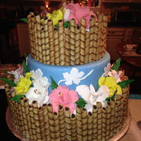 Hawaiian Theme Cake 3 tier Hawaiian cake made for a Sweet Sixteen Party