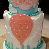 Hot Air Balloon Baby Girl 1St Birthday Cake 2 tiered baby girl 1st birthday cake, hot air balloon theme