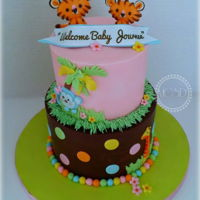 Jungle Themed Baby Shower Cake yellow cake, Italian swiss buttercream, pink ganache, chocolate ganachegumpaste figures6''+'8''