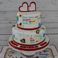 "Lenços Dos Namorados Birthday Cake  Inspired by the traditional portuguese ""Lenços dos Namorados"", which are patterned handkerchiefs containing various..."