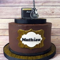 Les Paul And Marshal Combo Amp  Topper is handmade with and free standing so can either be eaten or kept as a souvenir! ;) The cake is chocolate, filled with a nice almond...