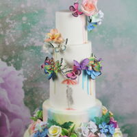 "Love In Watercolor Today I have a very colorful wedding cake which I would like to show you. Let us call the ""love in watercolor"". All..."