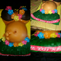 Luau Baby Bump Cake  Hawaiian themed baby bump cake. Cakes were White velvet with banana creme filling for the belly and strawberry with Strawberry vanilla...