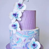 Marble Orchids Some of my favorite techniques combined in this cake