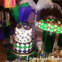 Mardi Grass Cake   Mardi grass, green, purple , black and gold. With cakepops and macarons