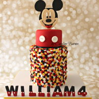 Mickey Mouse Confetti Cake Mickey Mouse cake with edible confetti and 2D topper