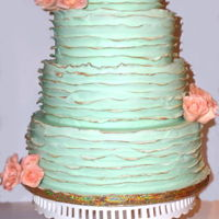 Mint Fondant Ruffled Wedding Cake 4 tiers, red velvet wedding cake with white ganache and mint green marshmallow fondant ruffles