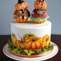 Mr. And Mrs. Pumpkin Sweet Pumpkins and handpainted cake