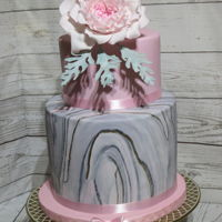 My Daughters 27Th Birthday Cake Dark Chocolate Cake,Vanilla Bean Cake, Chocolate SMB,and covered in chocolate ganache and marbled fondant.This was my first attempt at the...