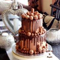 My Kind Of Cake! Chocolate lovers treat.2 tiers of lindt chocolate cake covered in nutella buttercream , dripped with dark chocolate.Adorned with lindor...