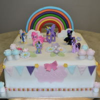 My Little Pony Vanilla Butter Cake with Fondant, Fondant Accents and Plastic Pony