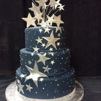 Night Stars Sweet sixteen cake, made for my friends daughter, covered in fondant, gumpaste silver stars and buttercream dots simulating the star...