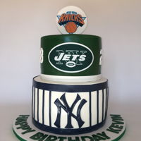 Ny Sports Birthday Cake Ny Yankees, NY Jets and NY Knicks Birthday Cake