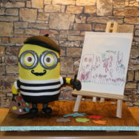 Painter Minion I made this cake for my son's 5th birthday! Minion is chocolate mud cake. The painting is my son's work printed on...