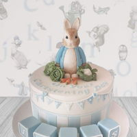 Peter Rabbit Cake   Classic Madagascan vanilla cake with Strawberry and vanilla filling. All decorations are handmade and completely edible.