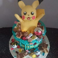 Pikachu Drip Cake Colour drip cake with sweets and chocolate and a pikachu model made from rkt