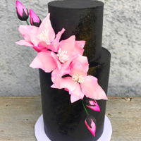 Pink And Black Double barrel black fondant cake with pink gumpaste fantasy flowers, with a touch of gold