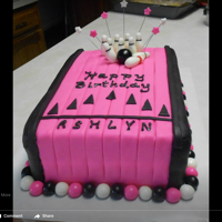 Pink Bowling Cake Double layer cake covered in MMF.