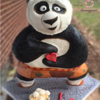 Po....kung Fu Panda Sculpted from cake and Rice Krispie treat bottom