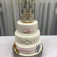 Princess Baby Shower 3 tier buttercream. Disco dust Stagg and doe in gold.