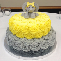 Yellow And Grey Elephant Baby Shower Cake buttercream roses and gumpast elephant