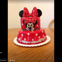 Red Minnie Mouse Red Minnie Mouse cake all MMF covered.