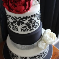 Red Peony With Black And White   The 50th Birthday cake I made for my friend