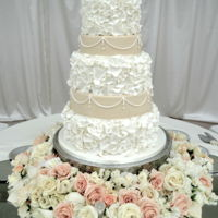Ruffled Wedding Cake   White and Ivory Cake with Fondant Ruffles