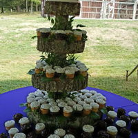 Rustic Cupcake Wedding A summer rustic wedding. The groom and his father made the cake stand. Small cake for bride and groom to cut with accompanying chocolate...